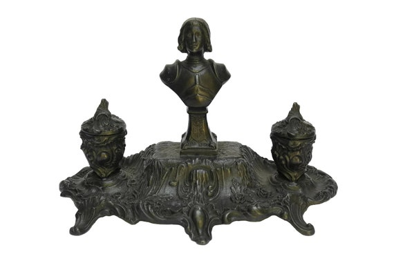 Antique French Saint Joan of Arc Inkwell