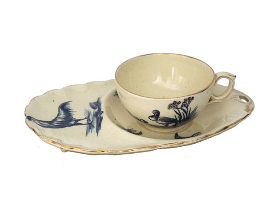 Antique Teacup and Saucer Tennis Snack Set, French Hand Painted Cup with Rooster