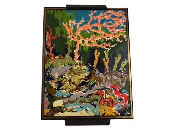 Mid Century Abstract Art Enamel Plaque, 1960s Jean Neuhause Limited Edition, Doczy Underwater Scene