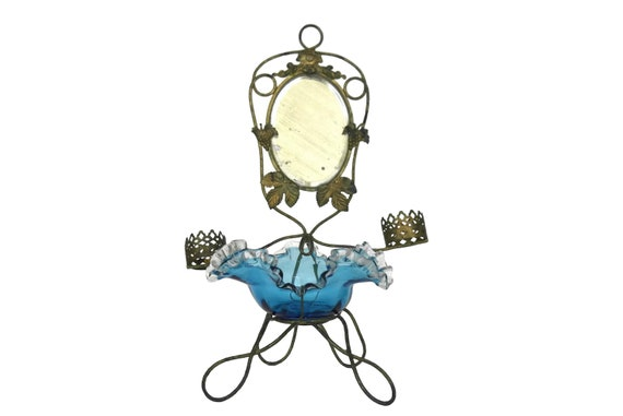 Antique Palais Royal Jewelry Stand, French Blue Glass Ring Dish, Mirror and Scent Bottle Holders