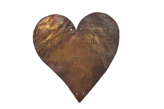 Antique Bronze Heart Grave Marker, French Memorial Mourning Plaque