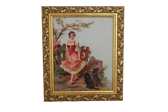 Rococo Art Portrait of Lady with Dogs, Antique French Romantic Oil Painting