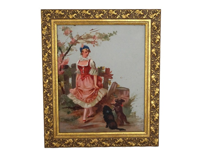 Pastoral Art Portrait of shepherdess with Dogs, Antique French Romantic Oil Painting