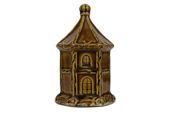 Antique Ceramic House Money Box, French Collectible Saint Uze Majolica Coin Bank