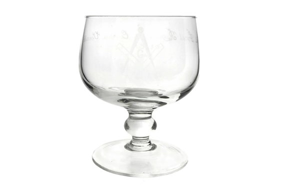 Vintage French Crystal Masonic Rummer, Etched Glass Chalice with Freemason Symbols