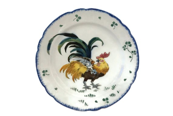 Antique French Rooster Plate, Luneville Les Coqs Ceramic Platter, Kitchen Wall Decor