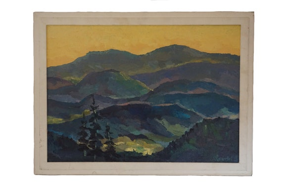 French Country Landscape Sunrise Painting with Mountains and Trees, Original Scenic Art