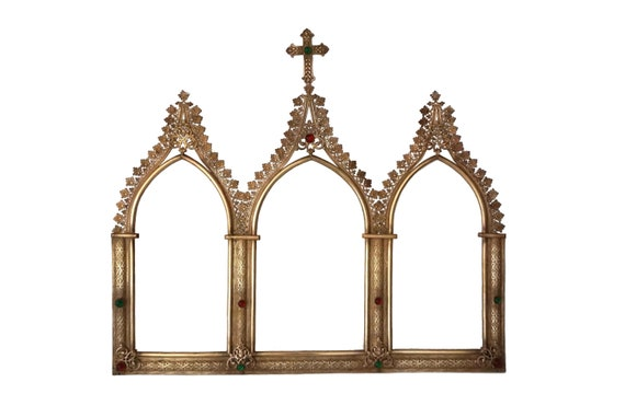 French Antique Gothic Triptych Frame with Cross and Triple Arch, Christian Wall Hanging Decor