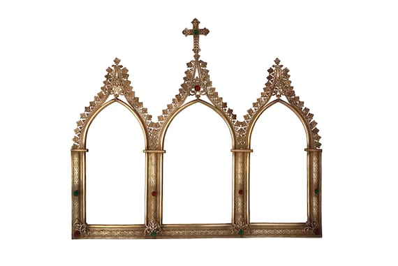 Gothic Triptych Frame with Cross and Triple Arch, French Antique Christian Wall Hanging Decor