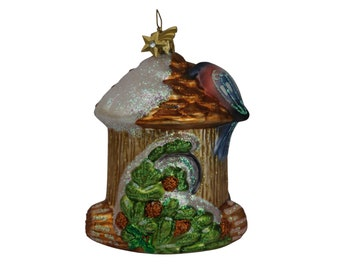 Vintage German Glass Christmas Tree Ornament with Birds and Birdhouse by Kathe Wohlfahrt.