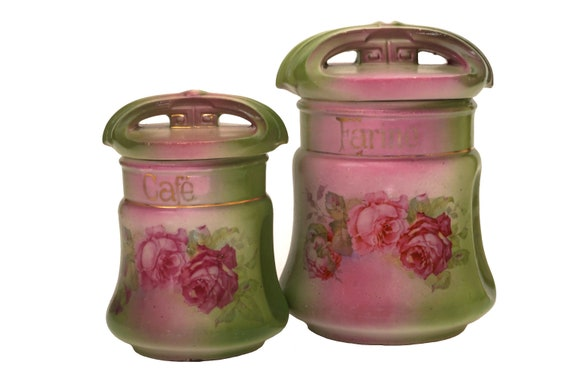 Art Nouveau Coffee and Flour Canister Set with Roses,  French Kitchen Ceramic Storage Jars