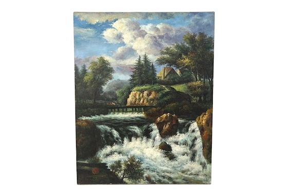 River and Country Landscape Painting, Scenic French Art