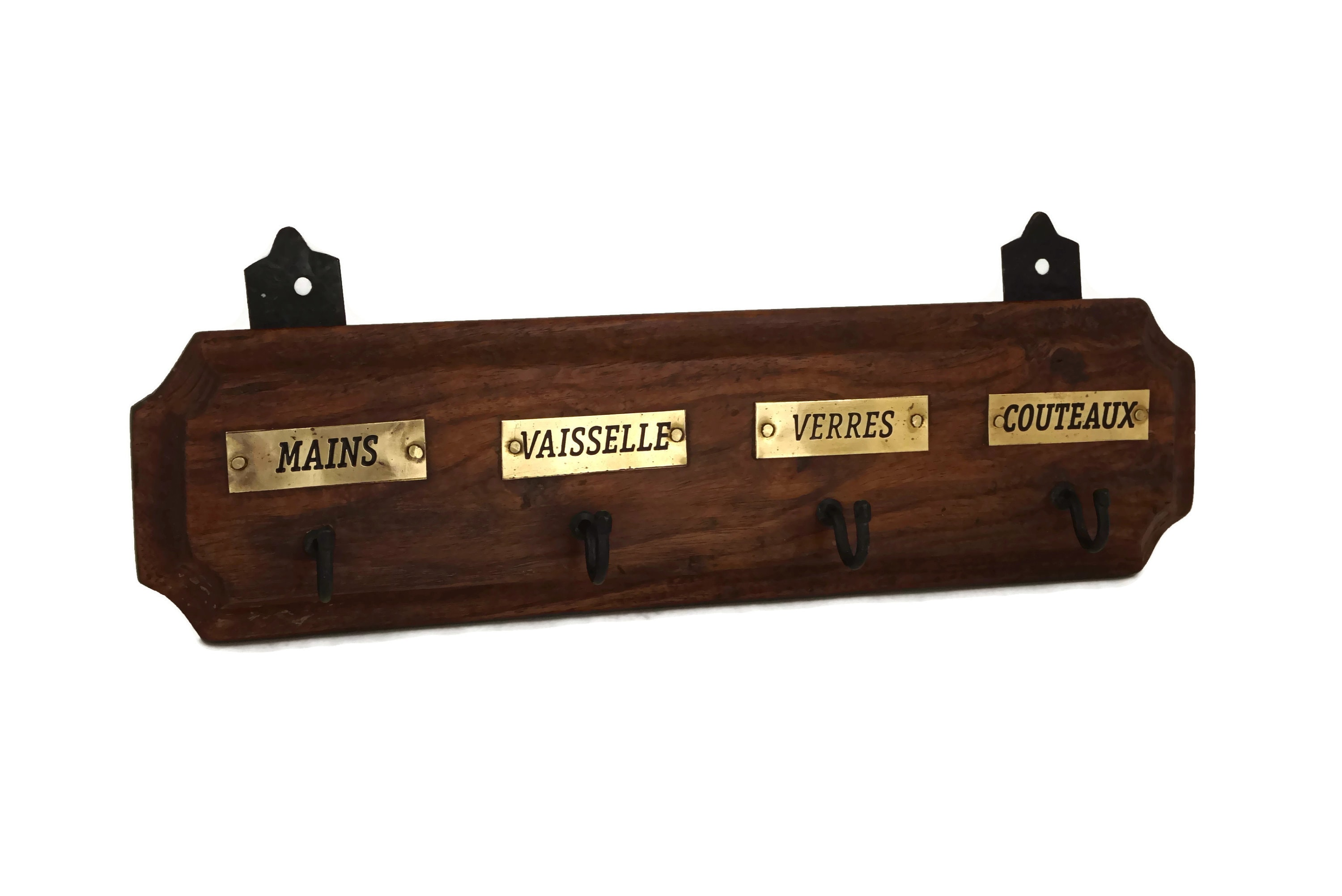 Vintage French Dish Towel Holder, Wood and Brass Kitchen ...