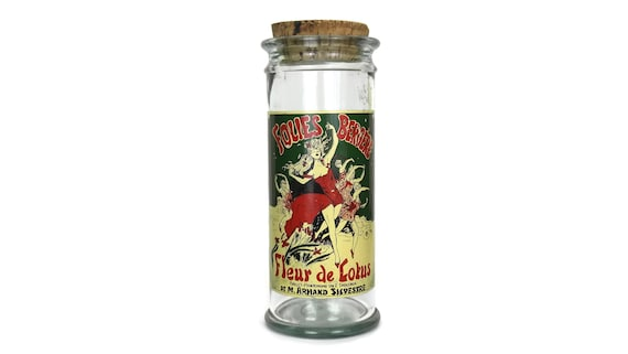 Vintage French Glass Pasta Jar, Folies Bergère Advertising, Kitchen Container, Belle Epoque Decor