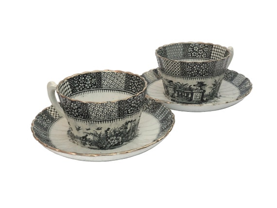 Antique French Blue Transferware Tea Cup and Saucer Set by KG Luneville in Dentelle Pattern