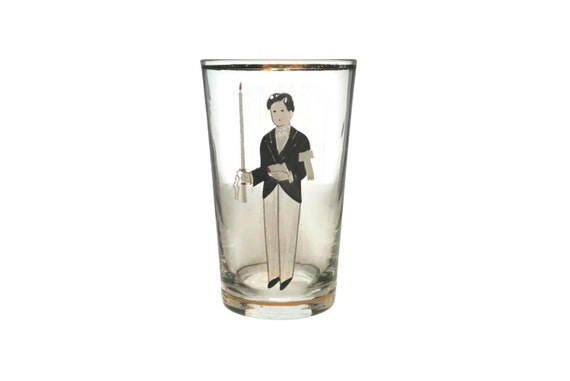 French First Communion Glass with Hand Painted Boy Portrait, Mid Century Christian Kids Gift