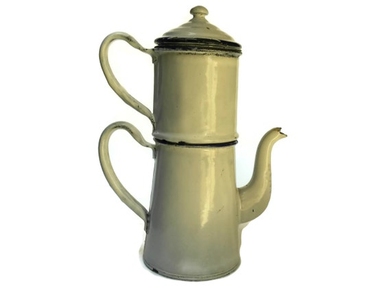 Vintage French Enamelware Coffee Pot.