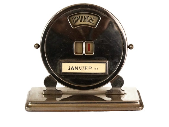 Art Deco Perpetual Desk Calendar, Vintage French Office Decor and Accessory