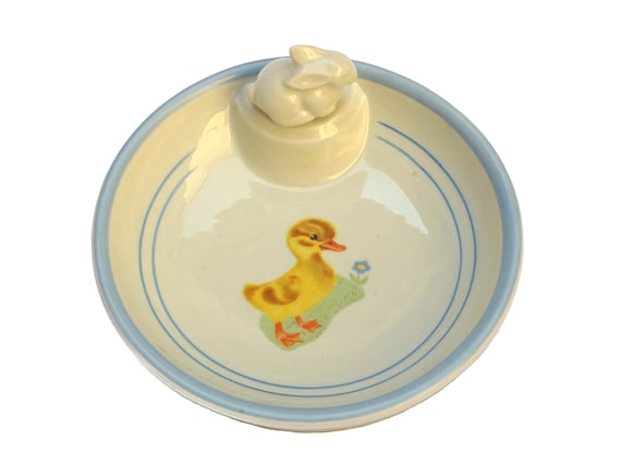 French Porcelain Baby Feeding Dish with Yellow Duck