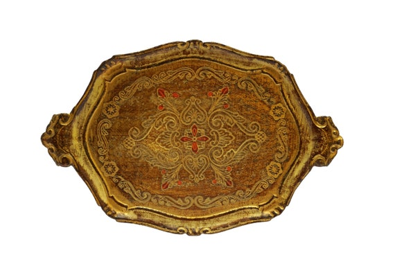 Vintage Florentine Drinks Serving Tray, Italian Boho Home Decor