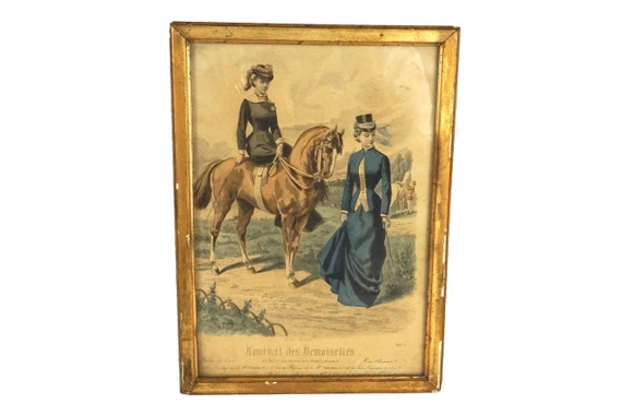 Antique Victorian Fashion Print with Ladies and Horses