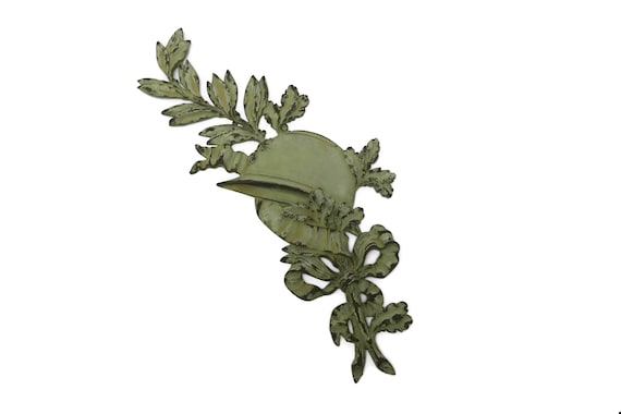Antique French WW1 Soldier Grave Marker, Large Bronze Plaque with Army Helmet and Laurel Leaves, Military Collectible