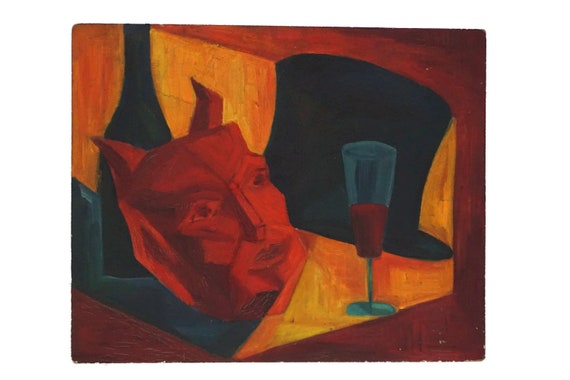 Demon Mask Still Life Painting, Mid Century French Surrealist Devil Art