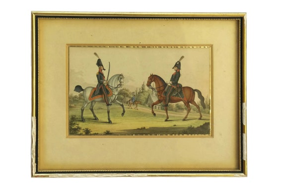 Antique Military Equestrian Gouache Painting,  Soldiers in Uniform and Horse Art