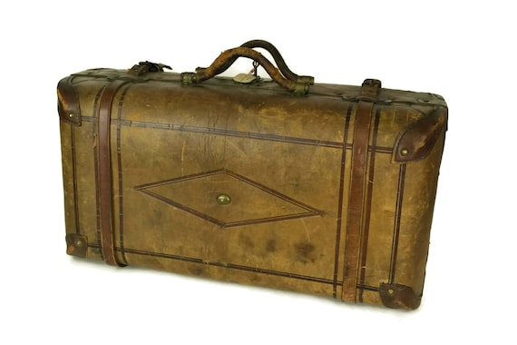 Antique Leather Suitcase. French Luggage with Straps. Brown Leather Storage Case. Gift for Traveller. Weekend Bag.