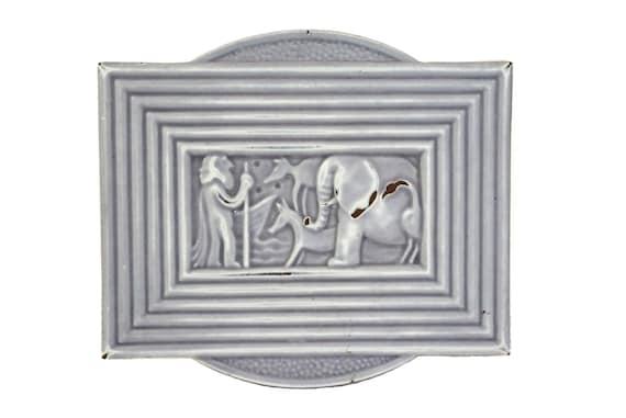 Art Deco Cast Iron Trivet with Noah's Ark and Animals, Deville French Enamel Pot Rest