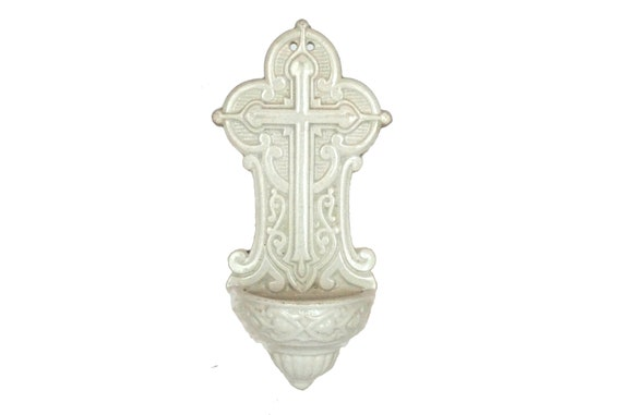 Antique Holy Water Font Stoop with Cross, Sarreguemines French Ceramic