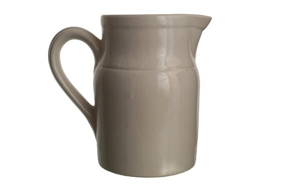French Stoneware Water Pitcher, Vintage Digoin White Ceramic Jug