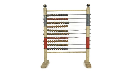 Antique French Standing Abacus with Counting Beads and Wooden Frame