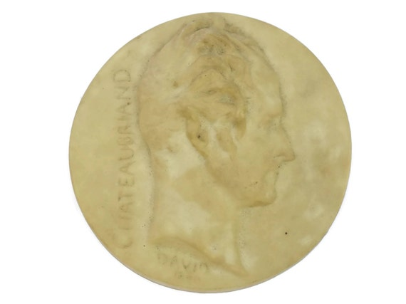 Medallion Portrait of French Writer Chateaubriand, Vintage Miniature Wall Plaque, French Library Decor