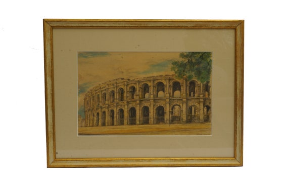 Antique Roman Arena of Nimes Painting, Framed Architectural Ruins Watercolor Art