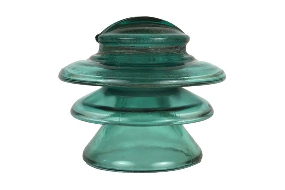 Large Green Glass Electric Insulator, French Vintage Industrial Decor