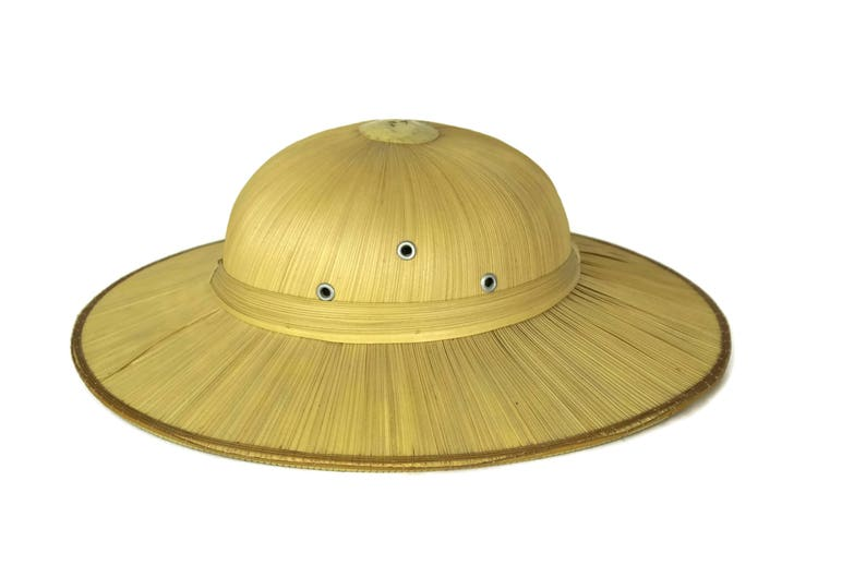 9b4c98eaaf2805 Vintage French Straw Pith Helmet Safari Hat Tropical Fashion | Etsy