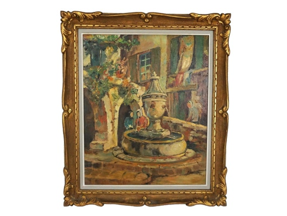 French Village and Fountain Painting, Framed and Signed Provence Art