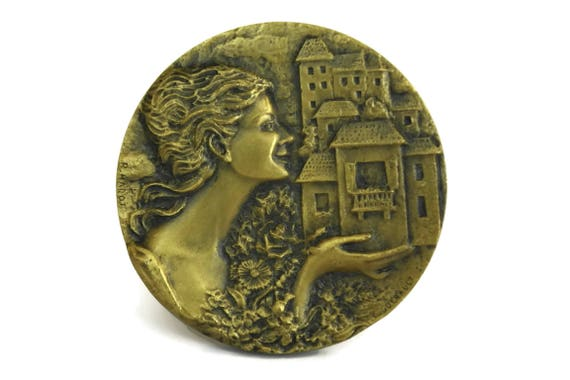 French Bronze Medal with Lady Portrait, Vintage Flower Competition Award, Gift for Gardener
