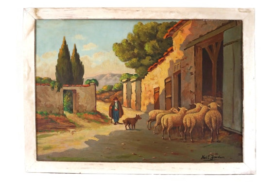 French Shepherd and Sheep Painting, Rustic Provence Country Landscape, Original Art Signed by Noel Jourdan