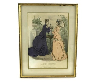 French Victorian Fashion Shadow Box. Antique Fashion Illustration with Handmade Fabric Dresses. French Fashion Plate with Fabric.
