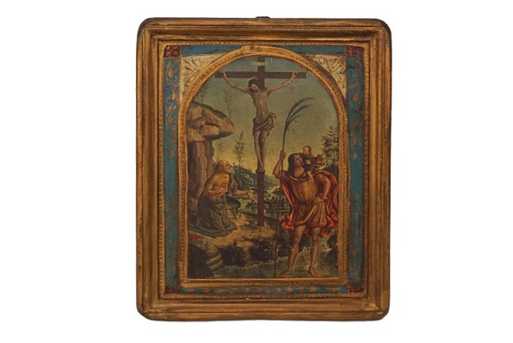 Crucifixion of Jesus Christ Art Print in Florentine Frame, Christian Wall Hanging and Home Decor