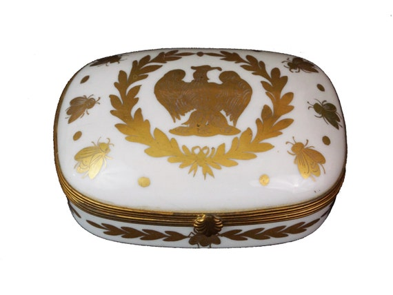 Vintage French Jewelry Box with Napoleon Eagle and Gold Bees, Hand Painted Paris Porcelain Trinket Dish