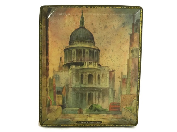 Vintage Candy Tin Box. St Paul's Cathedral. Lithograph illustration. Edward Sharp Confectionery. Hinged Lid Advertising. London Souvenir.