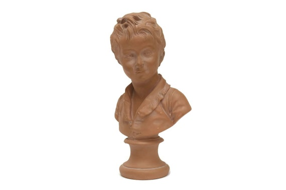 Terracota Boy Bust. Vintage Child Portrait. Head Statue. Reproduction of Alexandre Brongniart by Jean Antoine Houdon. French Romantic Decor.