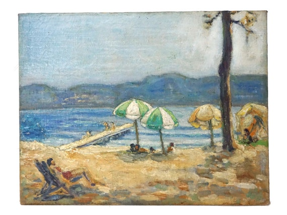 Beach Umbrella and Seascape Painting, Vintage French Coastal Landscape Art