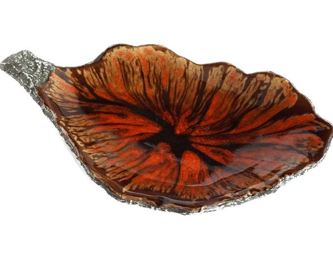 MCM Pottery Leaf Coin Dish, Mid Century Ceramic Fat Lava Glaze