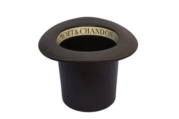 Top Hat Moet & Chandon Champagne Cooler, Ice Bucket with French Advertising, Vintage Bar Decor