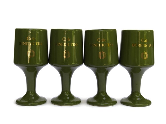 Vintage French Cafe Benedictine Advertising Bistro Glasses. 1970s Avocado Green Ceramic Coffee Cups.