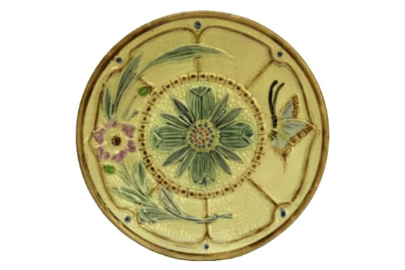 Antique Majolica Butterfly and Flower Plate, Hand Decorated Wasmuel Ceramic Wall Plate